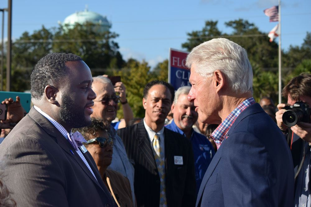 Former President Bill Clinton and Palatka Commissioner Justin Campbell meet and speak about Palatka issues.