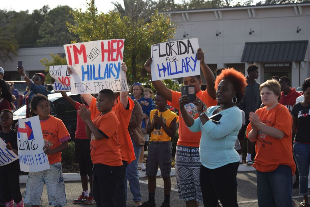 Signs, chants and more in support of Hillary in Palatka on Saturday.